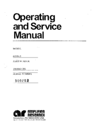 Servicio y Manual del usuario AmplifierResearch 60S1G3