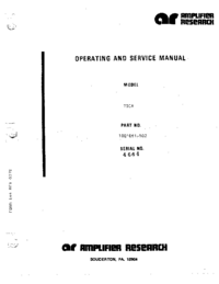 Servicio y Manual del usuario AmplifierResearch 700A