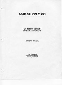 Servicio y Manual del usuario Ampsuply LK 400 SERIES
