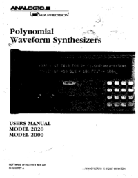User Manual Analogic 2000