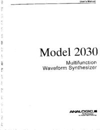 User Manual Analogic 2030