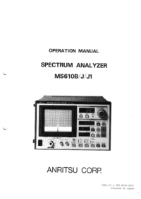 User Manual Anritsu MS610J1