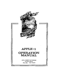 Service and User Manual Apple Apple 1