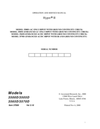 Servicio y Manual del usuario AssociatedResearch Hypot II 3500D