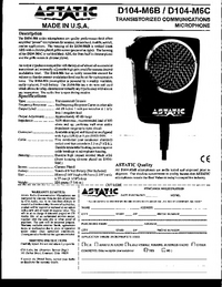 User Manual Astatic D104-M6C
