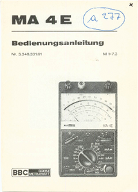 User Manual BBCGoerzMetrawatt MA 4E