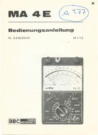 Gebruikershandleiding BBCGoerzMetrawatt MA 4E