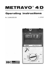 User Manual BBCGoerzMetrawatt Metravo 4D