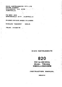 Service et Manuel de l'utilisateur BWD 820