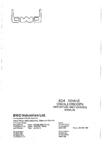 Servicio y Manual del usuario BWD 824