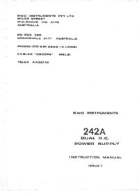 Servizio e manuale utente BWD 242A