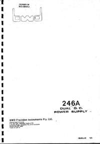 Service et Manuel de l'utilisateur BWD 246A