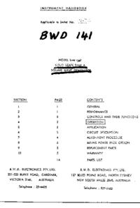 Servizio e manuale utente BWD 141