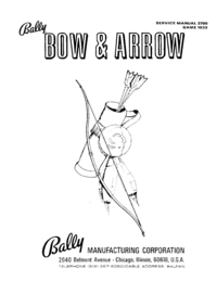 Manuale di servizio Bally Bow and Arrow 1033