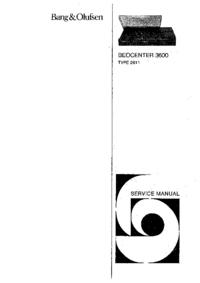 Service Manual BangOlufsen Beocenter 3600 Type 2611