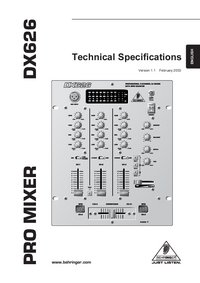 folha de dados Behringer DX626