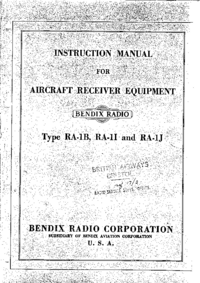 Servicio y Manual del usuario Bendix RA-1J