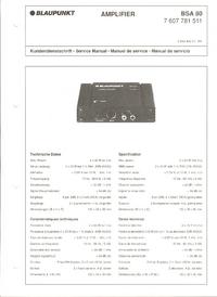 Руководство по техническому обслуживанию Blaupunkt BSA 80