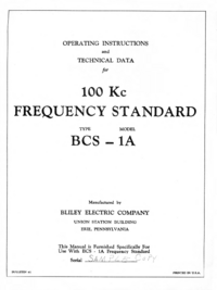 Service and User Manual Bliley BCS-1A
