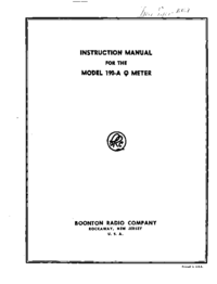 Service and User Manual Boonton 190-A