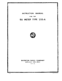 Service and User Manual Boonton 250-A