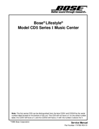 Servicehandboek Bose Model CD5 Series I Music Center