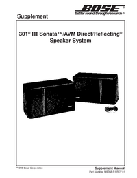Service Manual Supplement Bose 301 III Sonata