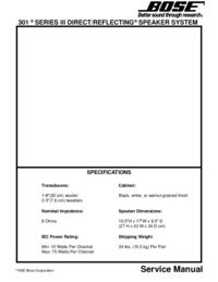 manuel de réparation Bose 301 Series III