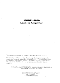 Service and User Manual Brookdeal 401A