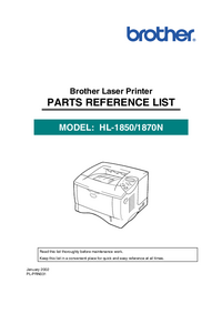 Part List Brother HL-1870N