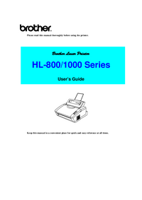 User Manual Brother HL-800 Series