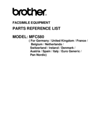 Liste des pièces Brother MFC580
