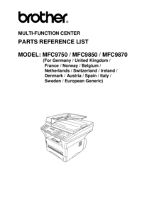 Part List Brother MFC9850