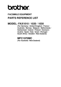 Part List Brother FAX1020