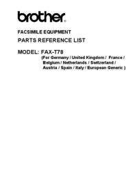 Deel Lijst Brother Fax-T78