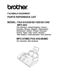 Part List Brother Fax-920