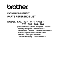 Part List Brother FAX-T82