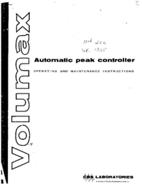 Service and User Manual CBS Volumax