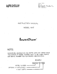 Servicehandboek CaliforniaInstruments 101T