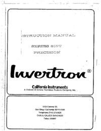 Обслуживание и Руководство пользователя CaliforniaInstruments 815T