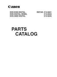 Servicehandboek, Deel Lijst alleen Canon EOS DIGITAL REBEL