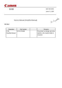 Instrukcja serwisowa Canon S100