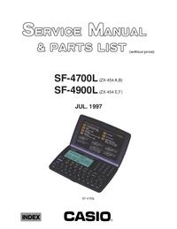 Manual de serviço, lista de peças só Casio SF-4900L (ZX-454 E,F)