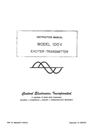 Service- und Bedienungsanleitung CentralElectronics 100V