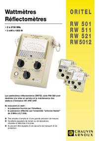 Datasheet ChauvinArnoux ORITEL RW 5012