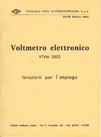 Обслуживание и Руководство пользователя Chinaglia VTVM 2002