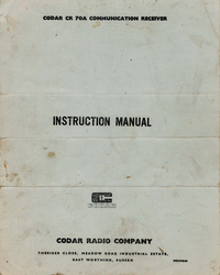 Serwis i User Manual Codar CR 70A