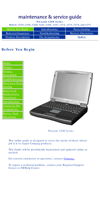 Instrukcja serwisowa Compaq Presario 1272