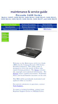 Service Manual Compaq Presario 1600-XL143