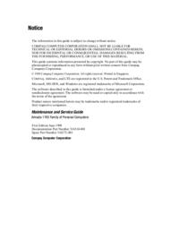 manuel de réparation Compaq Armada 1700
